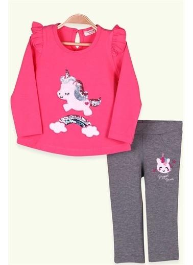 Breeze Kız Bebek Taytlı Takım Pullu Unicorn Fuşya (9 Ay-3 Yaş) Pembe